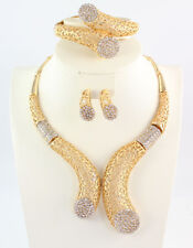 African Beads Jewelry Set Dubai Gold Crystal Women Wedding Party Necklace Ring