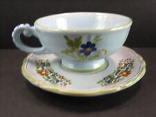 """SIGMA ITALIAN FAENZA POTTERY """"CARNATION BLUE"""" CUP AND SAUCER NEW UNUSED"""