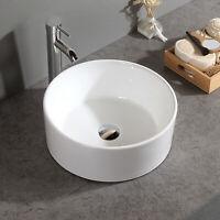 White Porcelain Circular Vessel Bathroom Sink Topmount Bowl CounterTop Sink