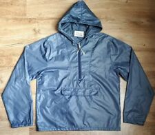 Men IZOD LACOSTE Windbreaker Rain Jacket Nylon Blue Half Zip Vintage Retro Sz M