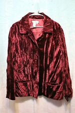 ⚜Woman's Solid Velvet Jacket by Coldwater Creek size 2X~Wine