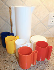 Vintage Retro INGRID of Chicago white Plastic PITCHER + 5 Cups multicolor