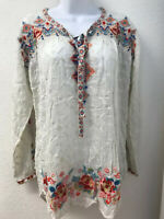 NWT Johnny Was Gina Blouse Embroidered Shirt Top S Shell Long Tab Sleeve Button