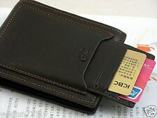 Mens Black cow leather credit/ID card holder slim purse bifold wallet