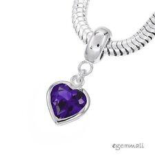 Sterling Silver Amethyst CZ Heart Charm Stopper Fit European Bracelet #94321