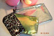 Victorias Secret Metallic Leopard Make Up Cosmetic Bags set of 3 NWT