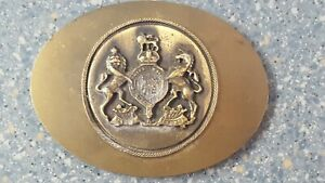 Royal Coat of Arms Her Majesty British Windsor Brass Belt Buckle Lion & Unicorn