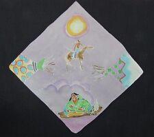 "Native American Square Batik Art Scarf 22"" x 21"" Mother Child Horse Teepee Blue"