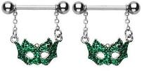 Nipple Ring Bars Mask Mardi Gra Masquerade Ball Mask Shield Pair