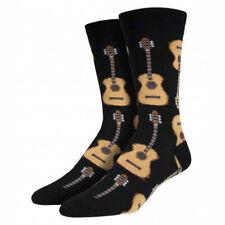 Socksmith Men's Crew Socks Guitars Rock and Roll Music Black Novelty Footwear