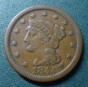 USA COPPER COIN 1 Cent, KM67  VF+  1855 (Braided Hair)