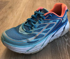 Hoka One One Clifton 3 Womens 7 M Blue Jewel Neon Coral Athletic Running Shoes