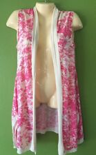 Anthropologie Guinevere Pink Ivory Long Vest Sweater Size Medium