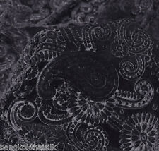 "BLACK PAISLEY FLORAL 3D EMBOSSED VELVET 60""W BTY Tablecloth Drape Blouse Skirt"