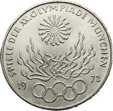 1972 Germany Munich Summer Olympic Games XX 10 Mark Silver Coin w Eagle i52433