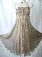 Beautiful Shimmering Gold MONSOON Silk Chiffon Lined Cocktail Dress Size 10