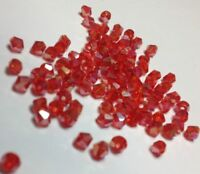 100pcs RED Shimmer 4mm Bicone Crystals Beads DIY Craft Jewellery Sun Catchers