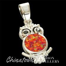 Cute Black Eyes Owl Ruby Red Fire Opal Silver Jewelry Necklace Pendant