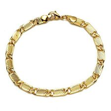 "Men/Women Link Charms Bracelet 18K Yellow Gold Filled 8"" Chain Fashion Jewelry"