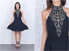 Vintage 80s Black Flower Sequin Dress Beaded Mini Party Glam Cocktail XXS