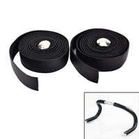 2X Bike Cycling Road Bike Carbon Fiber Handlebar Tape Wrap + 2 Bar Plug black TC