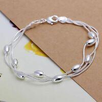 Triple Armband Kugeln Schlangenkette Echt Sterling Silber 925 Damen Armkette