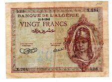 Algeria Algerie Billet 20 DINARS 21/09/ 1943  P92  BON ETAT