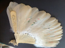 Antique Large Hand Fan Painted Ostrich Feathers