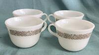 4 Vintage Pyrex Woodland Brown Floral White Milk Glass 8oz. Coffee Tea Cups.