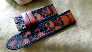 26mm Handmade quality leather watch strap, army,  skulls, reddish color