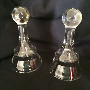 Vintage 2 Hand Blown Bell Shaped  Glass Cloche For Display