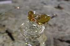 BEAUTIFUL CRYSTAL YELLOW BIRD BATH FIGURINE