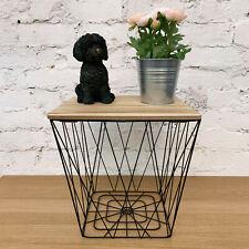 Vintage Retro Black Wire Metal Wooden Top Square Side Lamp Basket Storage Table