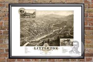 Vintage Littleton, NH Map 1883 - Historic New Hampshire Art - Old Industrial