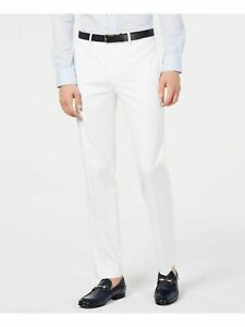 Calvin Klein Men's Slim-Fit Performance Stretch Solid Dress Pants, White