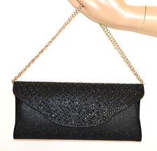 BOLSO CLUTCH BAG pochette negra cristales mujer bolsa strass cadena plata G56