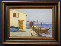 Öl auf Holz Quertant Alfred Fischerboote am Meer um 1950 Kunst Malerei sf