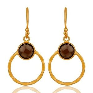 Smoky Quartz 18K Yellow Gold Plated 925 Sterling Silver Circle Earrings Jewelry