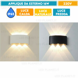 PLAFONIERA LED DA ESTERNO DOPPIA LUCE IP65 A PARETE MURO 16W LAMPADA APPLIQUE