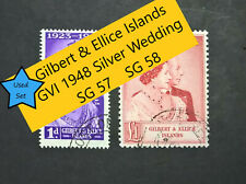 Gilbert & Ellice Islands KGVI 1948 Silver Wedding SG57  SG58  1d £1 Used