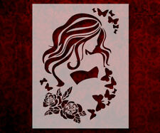 """Girl Long Hair Eyes Roses Butterfly 8.5"""" x 11"""" Stencil FAST FREE SHIPPING (631)"""