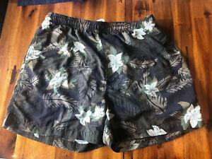 Tommy Bahama Swim Short Green Gray Palm Print Tropical Lined Medium Brown