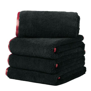 4pc Car Wash Microfiber Towel Auto Cleaning Drying Cloth Hemming Super Absorbent