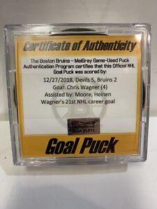 GAME USED SCORED GOAL PUCK CHRIS WAGNER BOSTON BRUINS 21st Career Goal