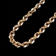 "20"" Irid Rope Chain 14k Solid Yellow Gold Necklace Hollow Design 4mm Thick *RARE"