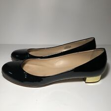 J CREW Flats Womens Sz 9 Black Patent Leather Gold Heels Ballets Made in Italy