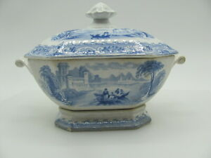 Wileman Rhine Foley Potteries Gravy Boat from 1800s United Kingdom Blue White