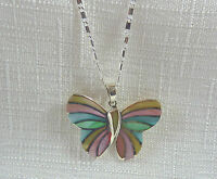 Multicolour Mother Of Pearl Solid 925 Sterling Silver Butterfly Pendant & Chain