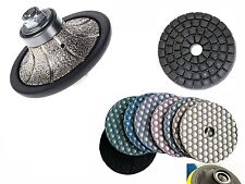 "1"" Diamond Radius bullnose router bit 4"" Dry polishing pad 18+1 granite concrete"