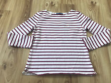 Petit Bateau Red Striped Bretton Long Sleeve Embroidered Slash Neck T Shirt XS